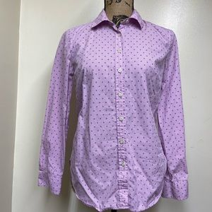 Talbots Lds Button Down Purple Polka Dot Gingham